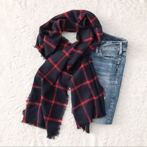 Merona Women's Navy and Red Blanket Shaw Scarf